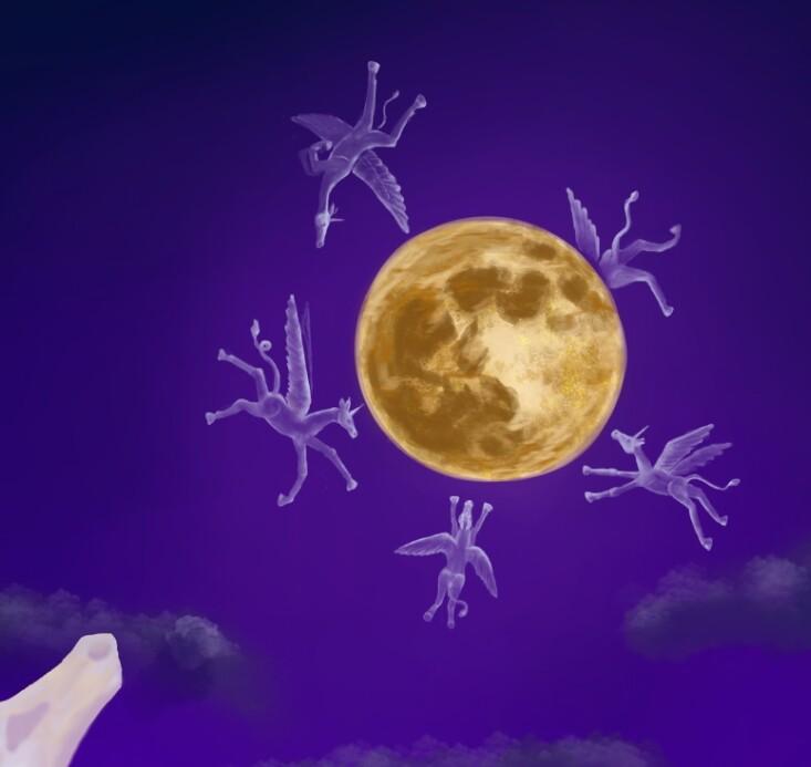 Moon and little Unicorns