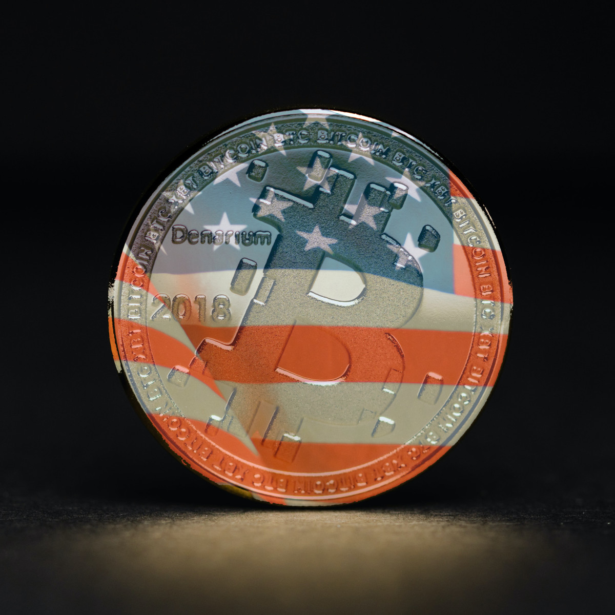 Bitcoin with American flag superimposed