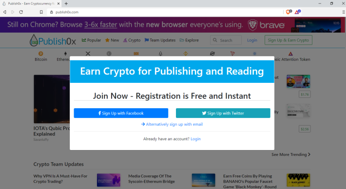 Publish0x Registration Page