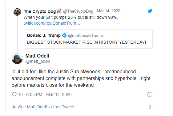 Trump tweet on stock market