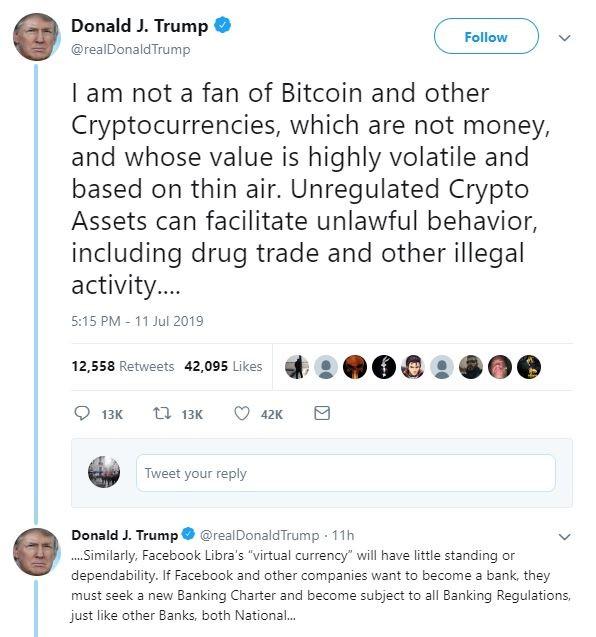 Resultado de imagen para trump bitcoin tweet