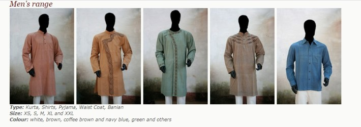 Charaka range of eco sustainable dresses for men