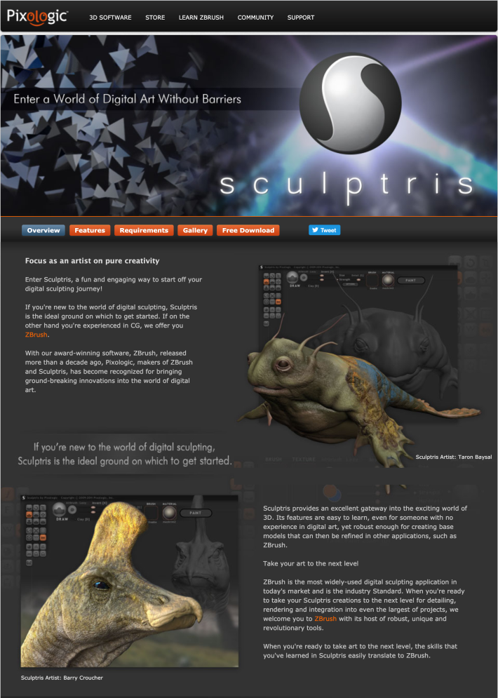 Sculptris website preview image