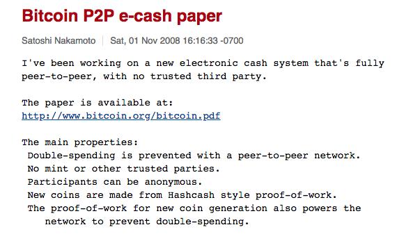 Bitcoin P2P e-cash paper