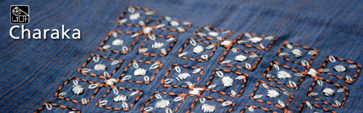 Charaka's elegant hand embroidery on their naturally dyed handloom clothes