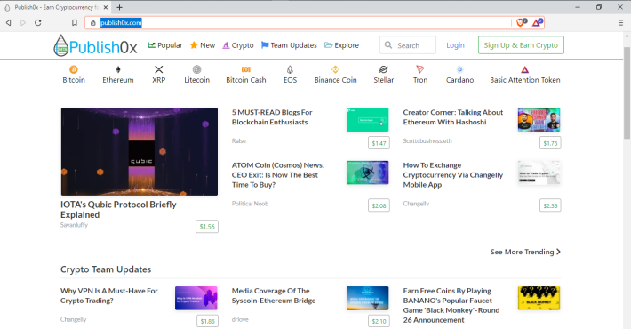 Publish0x Home Page View