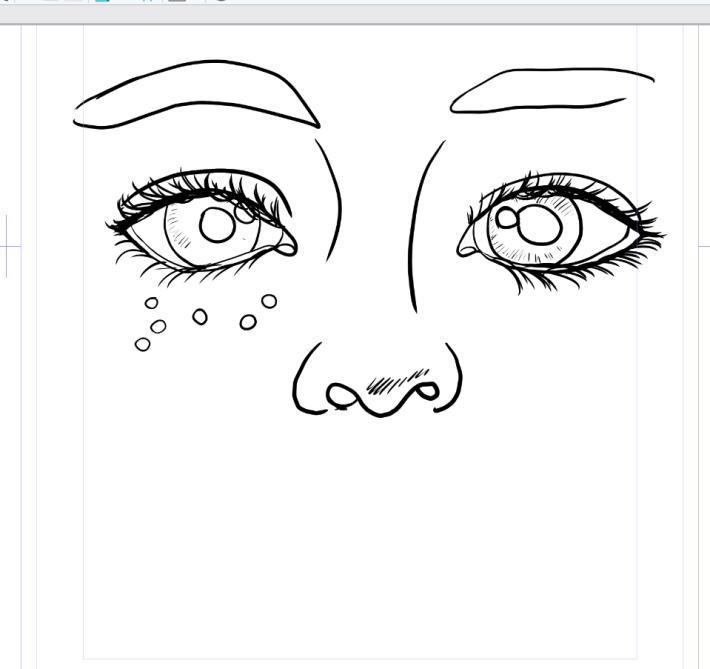 Cute Girls Face Original Drawing