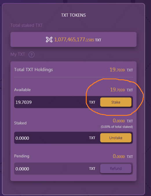 Day 2 : from 0 to 1 Bitcoin - First TXT token earned and staked
