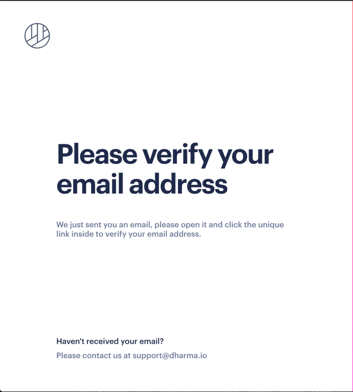 a screenshot of the dharma.io website asking to verify account email