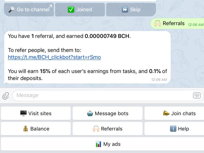 BCH/DOGE Telegram Bot That Pays