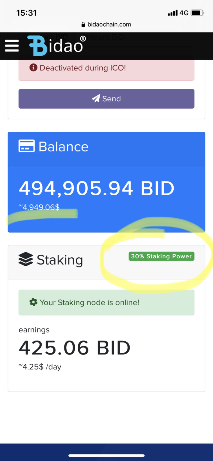 Wallet with Bid in staking