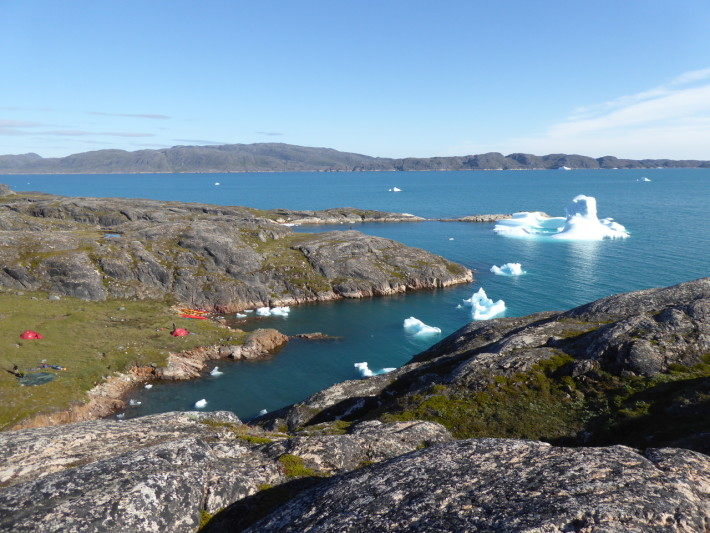 The icebergs at the entrance to our camp