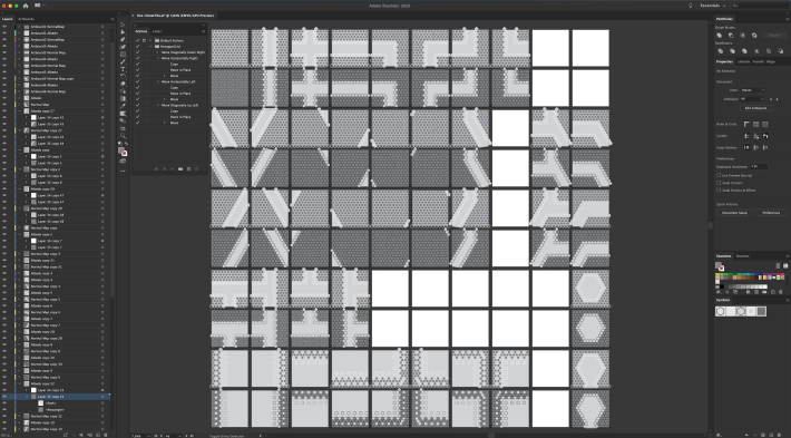 The one hundred artboards with hexagonal grid textures in Illustrator