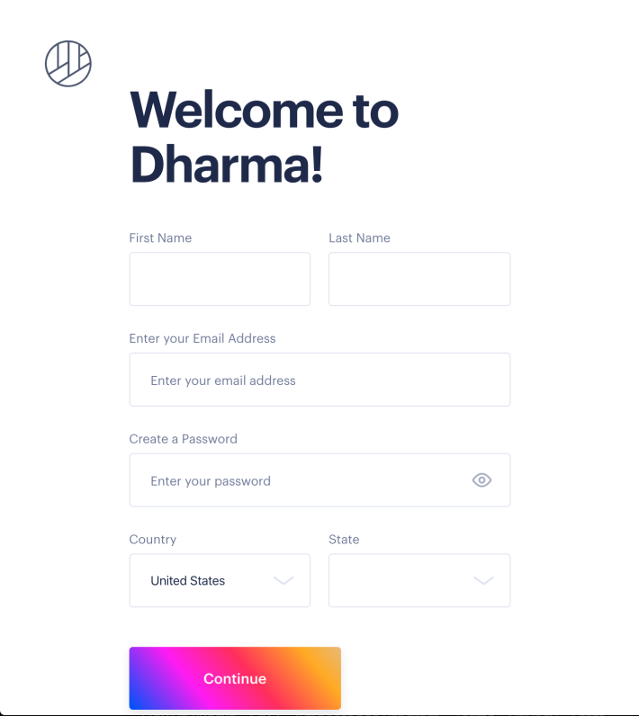 a screenshot of the dharma.io website sign up flow