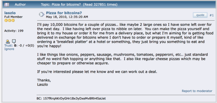 Pizza for bitcoins?