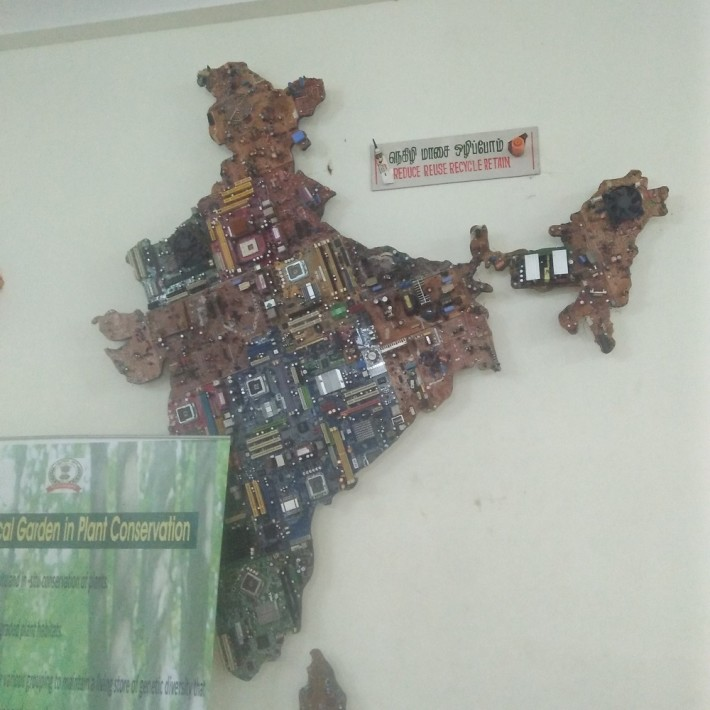 Map of India by Electronic waste - Pondicherry's Botanical Garden