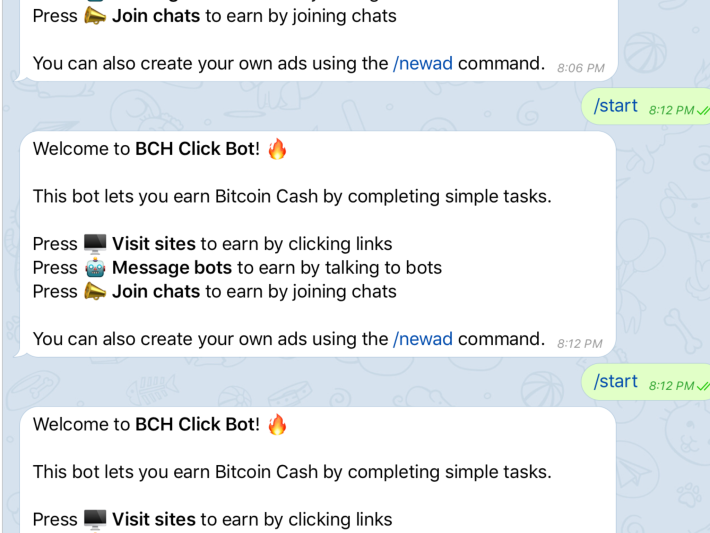 BCH/DOGE Telegram Bot That Pays