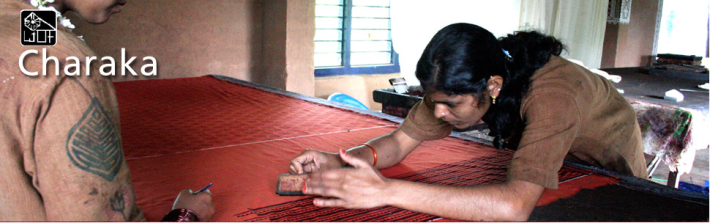 Designs made on a naturally dyed handloom cloth using Block Printing technique