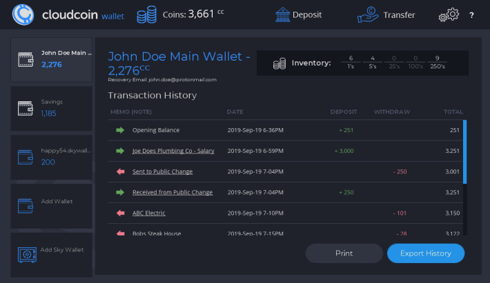 CloudCoin Wallet Dark Sky