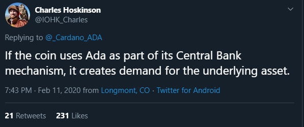 Charles Hoskinson stablecoin tweet