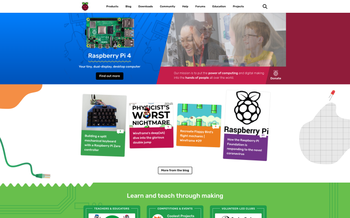Raspberry Pi website screenshot