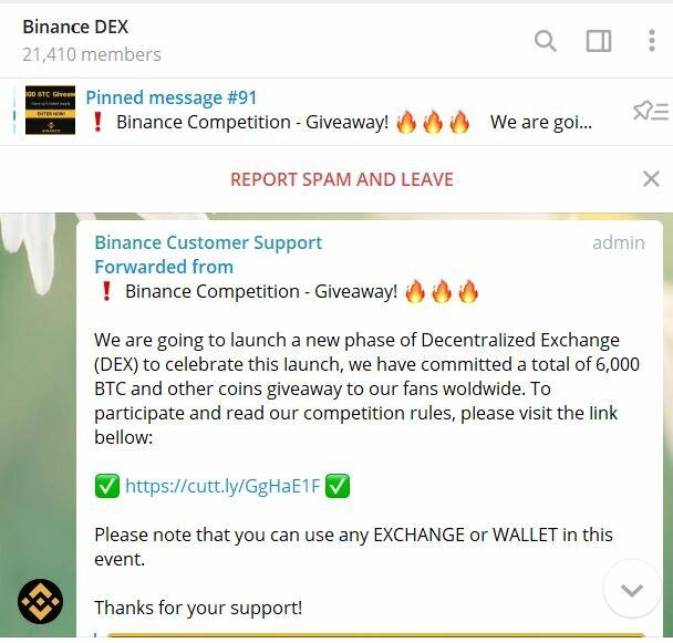Binance Dex Scammed Telegram Channel