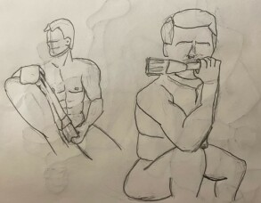 Briden sitting in two positions - 5-minute timed pencil sketches
