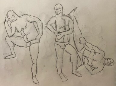 Paul in three poses - 2-minute timed pencil sketches