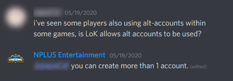 image of NPLUS Entertainment clarify multiple accounts within the game