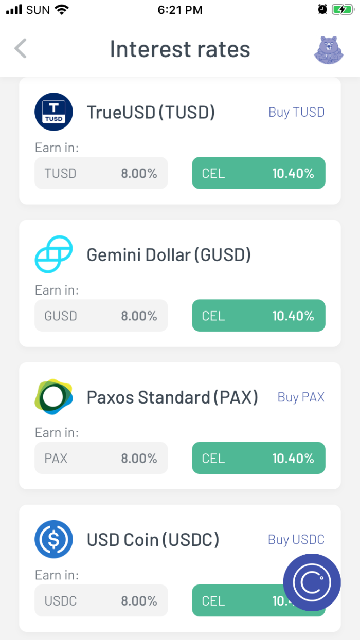 Celsius mobile wallet interest rates for popular stable coins