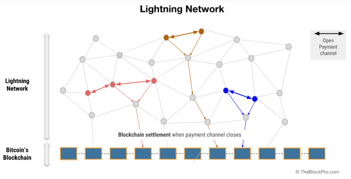 A graphical depiction of the lightning network