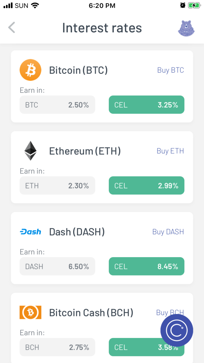 Celsius mobile wallet interest rates for BTC, ETH, DASH, and BCH.