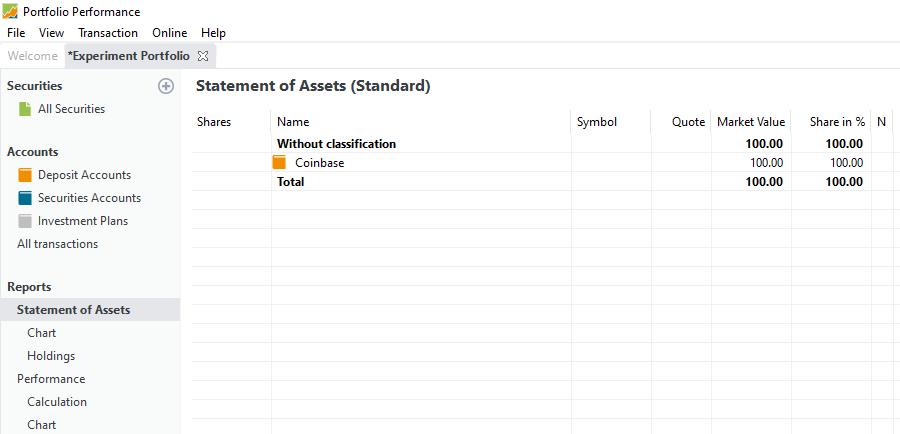 Statement of Assets after deposit
