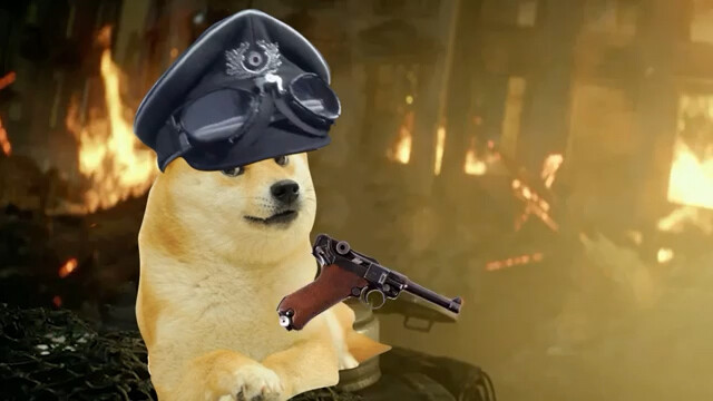 image of doge with hat and gun