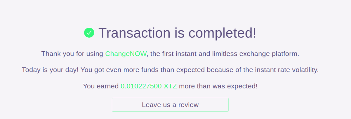 ChangeNOW completed exchange