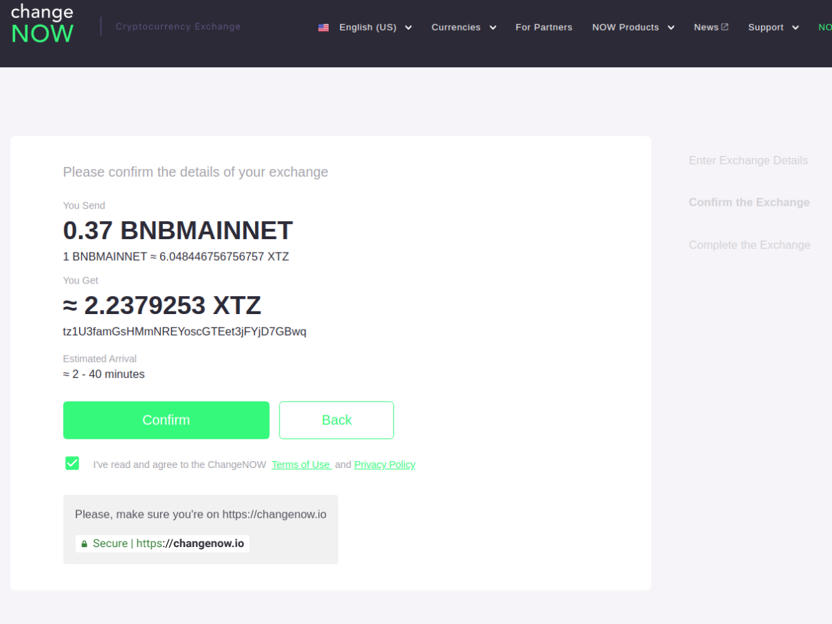 ChangeNOW confirmation screen