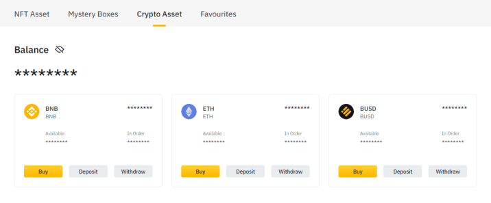 Click on Buy or Deposit button to get the respective crypto funds to your Binance account