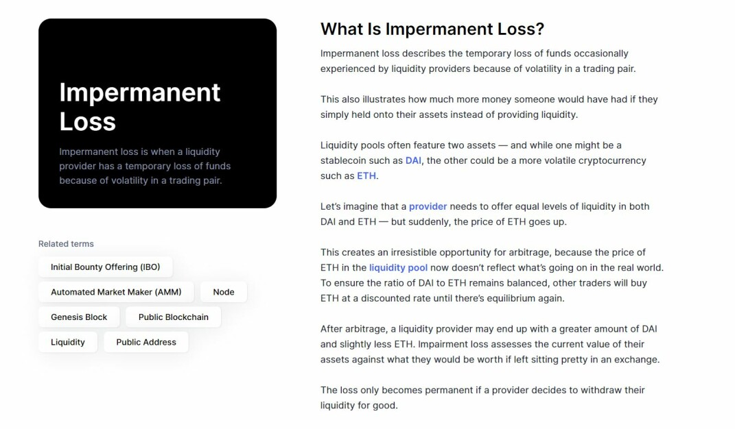 impermanent loss explained