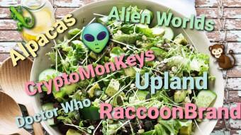 NFT salad: Alien Worlds, CryptoMonkeys, Doctor Who,  RaccoonBrand and Upland