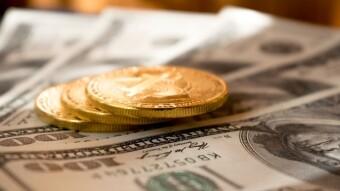 Gold, Banknotes, Bitcoin