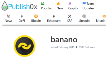 Official BananoJob #6: BANANO Airdrop to all Publish0x users (200kBAN)!