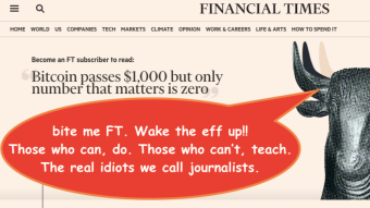 The FT is shilling for LaGuarde...the Financial Times loses the plot!  WHAT'S WITH THE HATE FOR BTC?  Plus - being blue - wall street profanity!!!