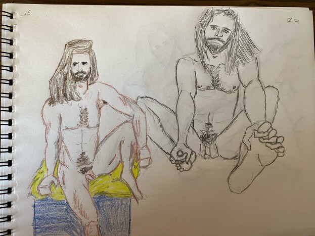 two 15-minute sketches of Lalo - Pencil and Colored Pencil