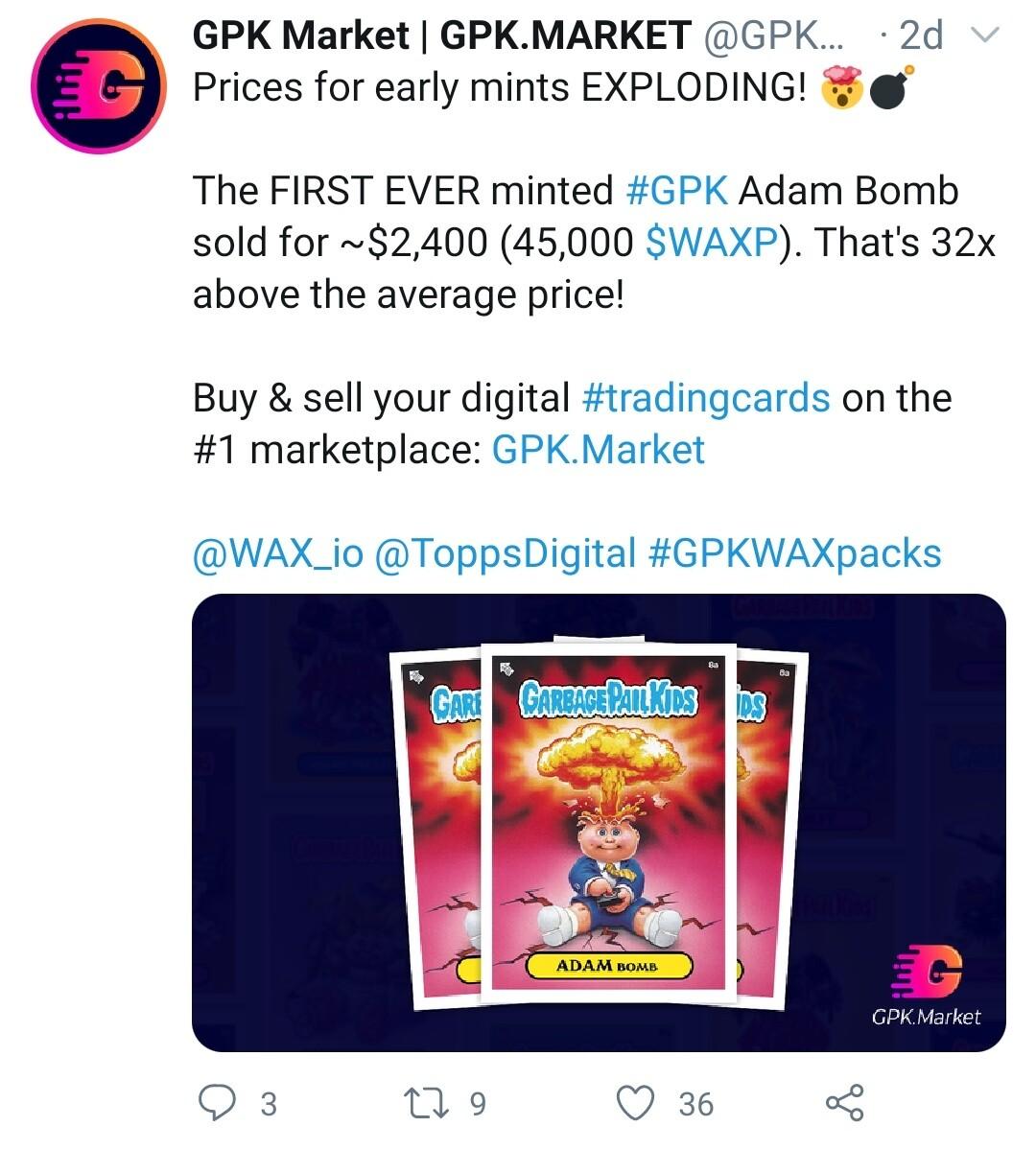 GPK Sale on WAX