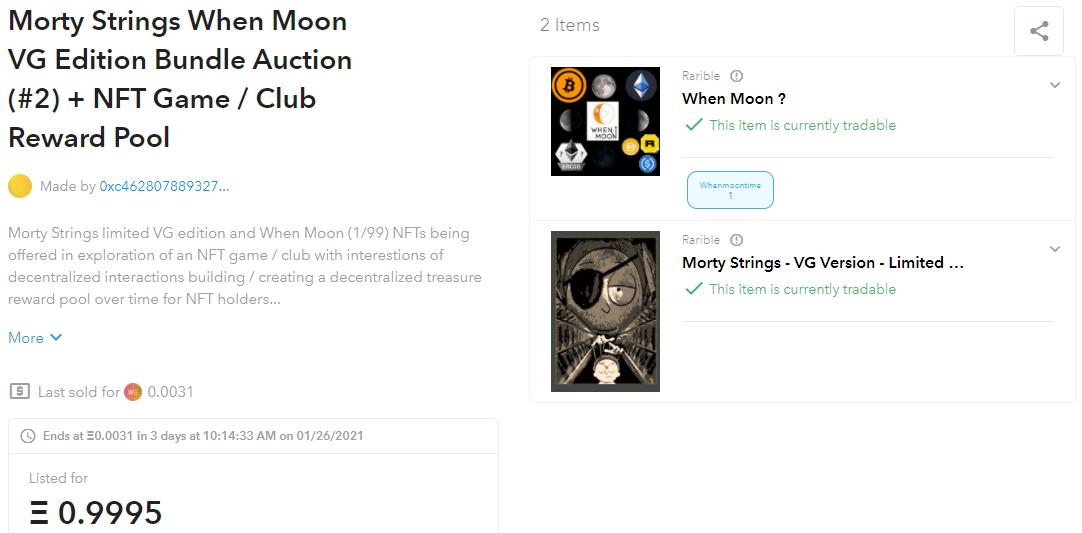 Morty Strings VG Edition When Moon Ethereum Rarible NFTs OpenSea auction