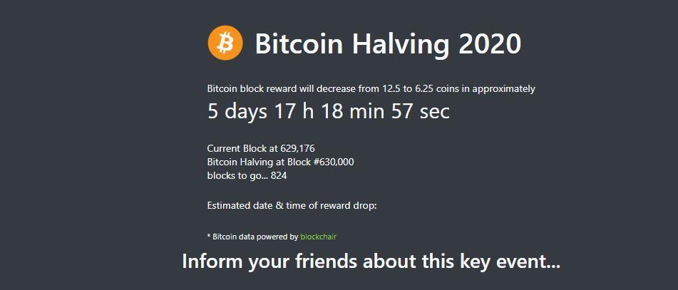 bitcoin halving countdown 2020
