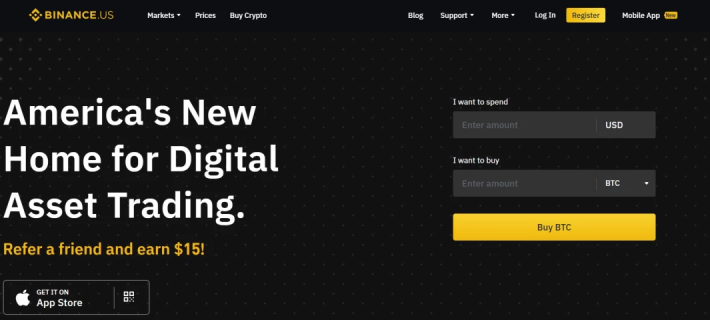 Binance US Homepage