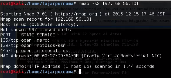 Figure 3.1 Scanning With NMAP.