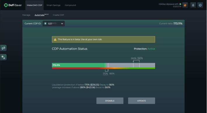 DeFi Saver Automation configuration screen