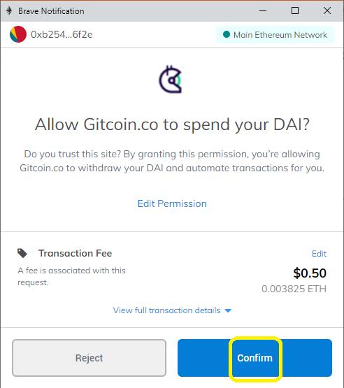 wallet confirm